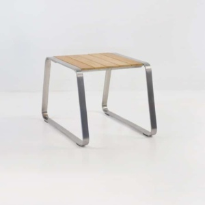 Summer Stainless Steel and Teak Side Table-0
