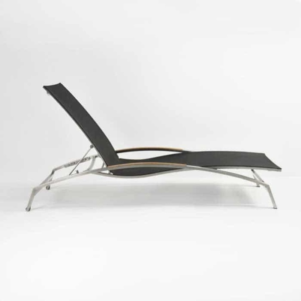 Summer Stainless Steel and Batyline Sun Lounger (Black)-977