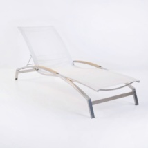 Summer Stainless Steel and Batyline Sun Lounger (White)-0