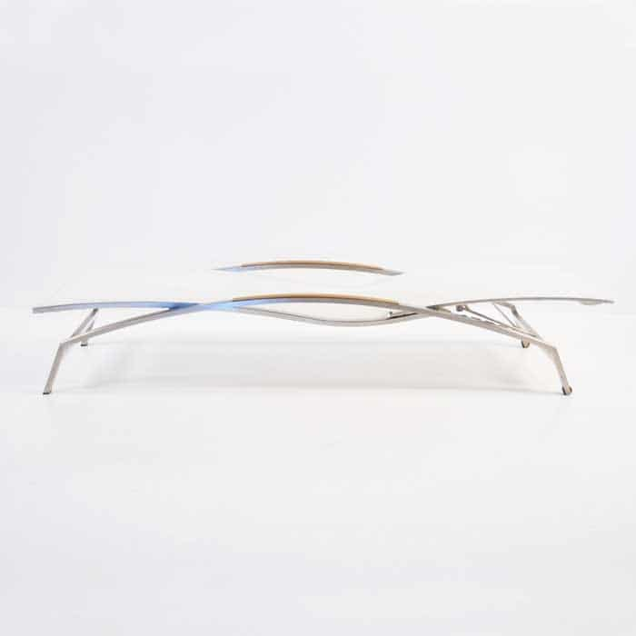 Summer Stainless Steel and Batyline Sun Lounger (White)-2358