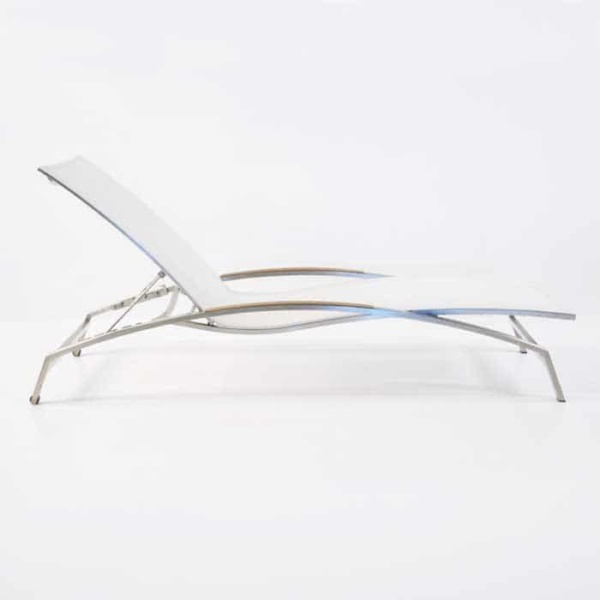 Summer Stainless Steel and Batyline Sun Lounger (White)-2357