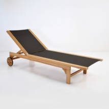 Tango Teak and Textilene Sun Lounger (Black)-0