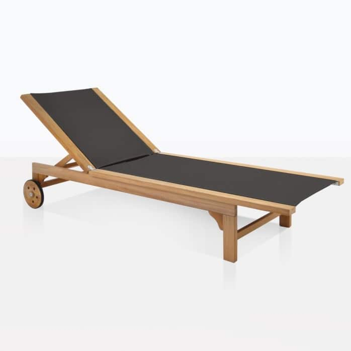 tango black sun lounger teak and mesh outdoor