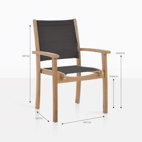tango stacking teak and mesh chair black