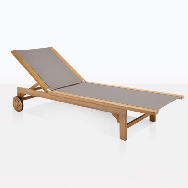 tango outdoor sun lounger taupe teak and mesh