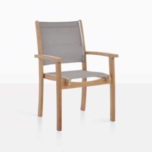 tango taupe stacking chair teak
