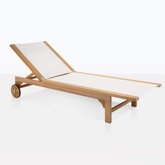 tango white teak and mesh sun outdoor lounger white