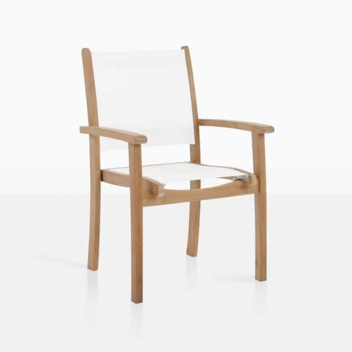 Tango Teak Mesh Chair Stacking White