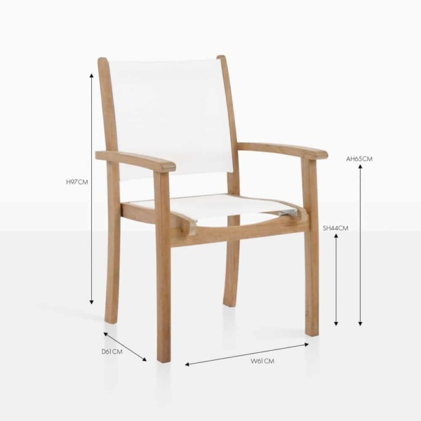 tango white stacking teak and mesh chair