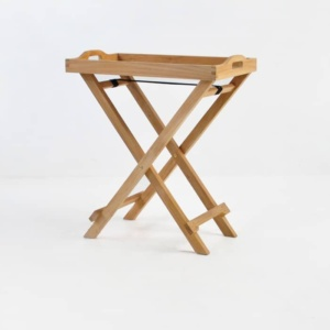 Teak Serving Tray with Stand front angle view