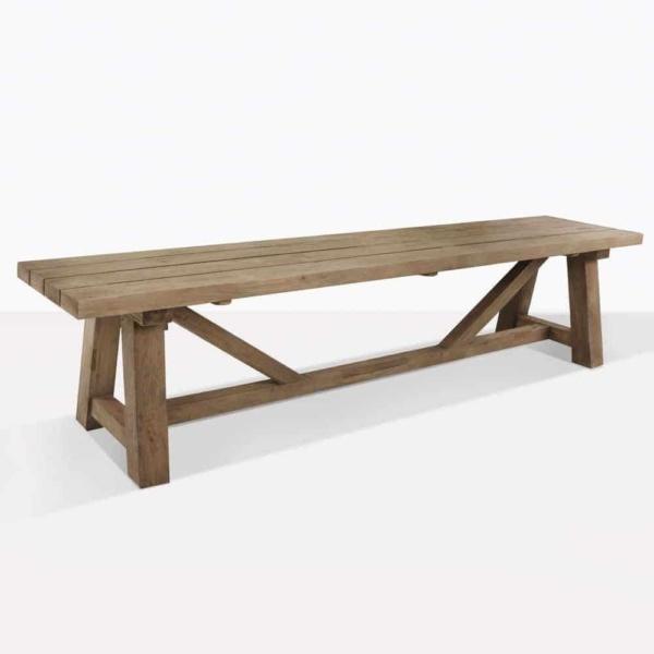 trestle reclaimed teak bench