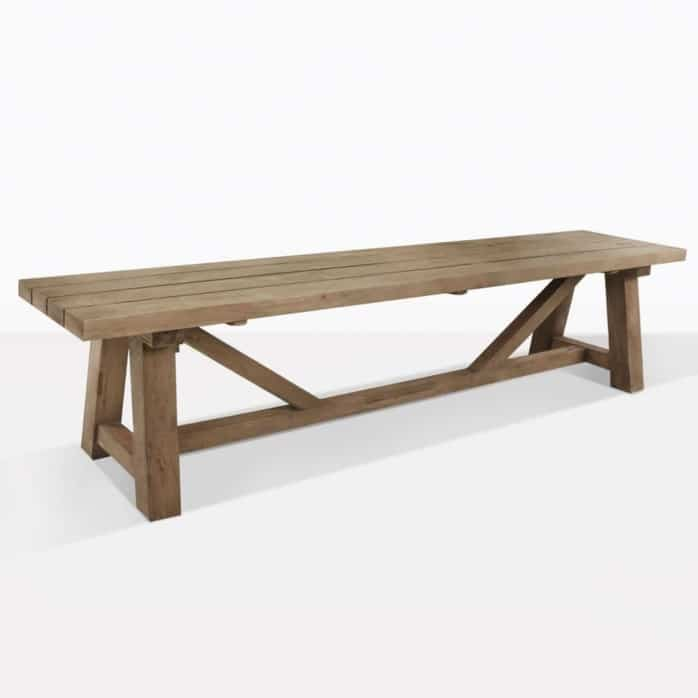 trestle reclaimed teak bench