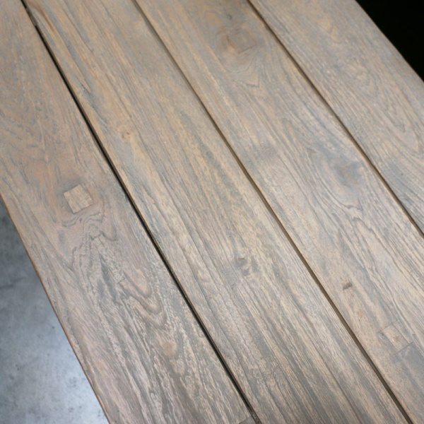 trestle reclaimed teak bench close up