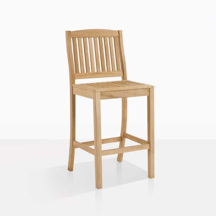 Verona teak bar stool angle