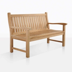 wave 2 seater teak outdoor bench