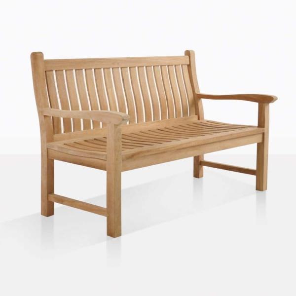 wave 2 seater teak outdoor bench