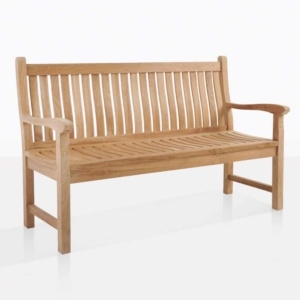 wave teak 2.5 seater outdoor bench angle
