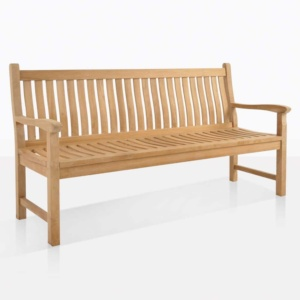 wave teak 3 seater outdoor bench angle
