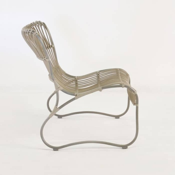 Weave Wicker and Aluminum Relaxing Chair side view