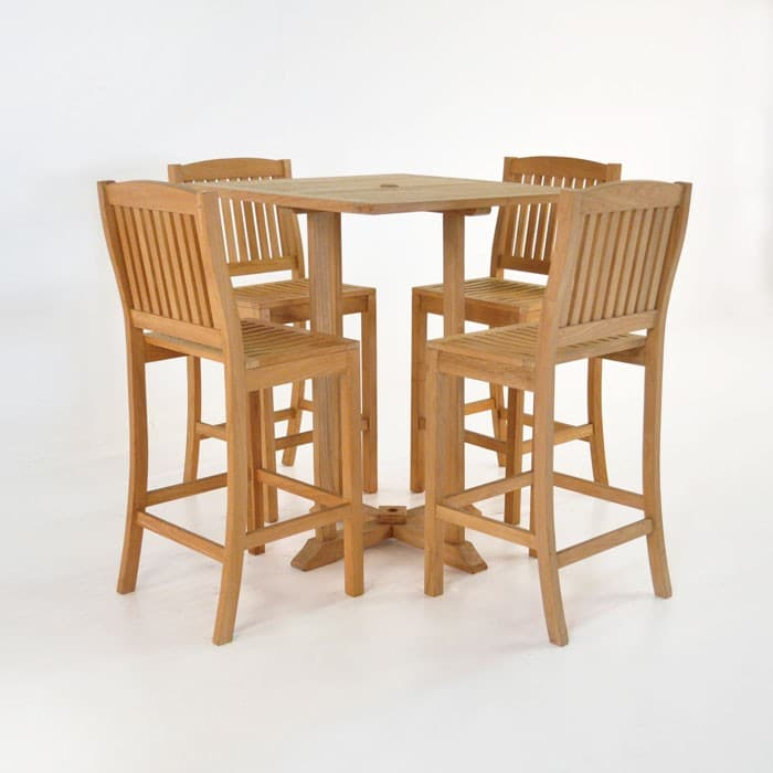 Square Bar Table with 4 Verona Chairs Teak Bar Set