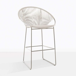 pietro white bar stool aluminium wicker