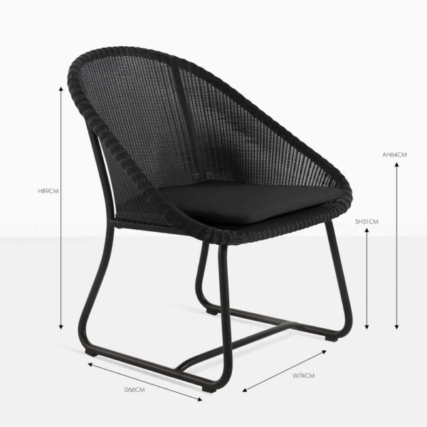 breeze black wicker dining chair