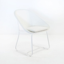 breeze wicker dining arm chair in white