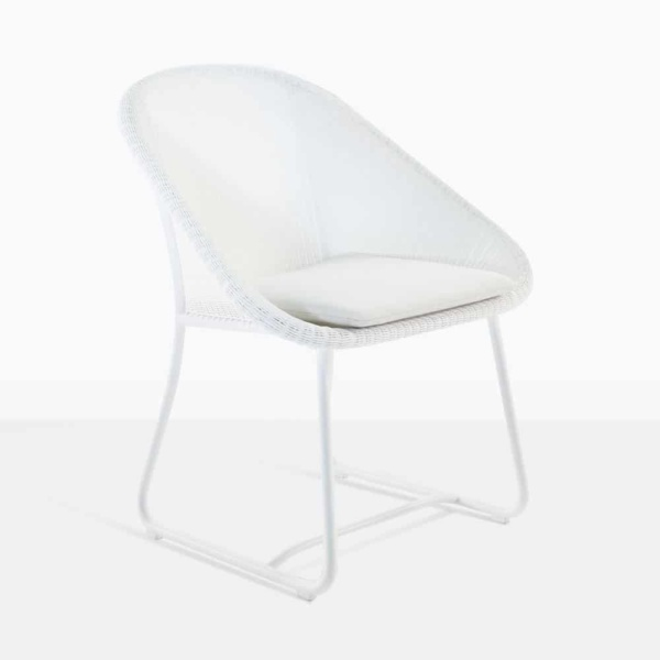 breeze white wicker dining chair front angle