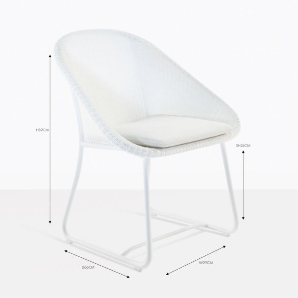 breeze white wicker dining chair