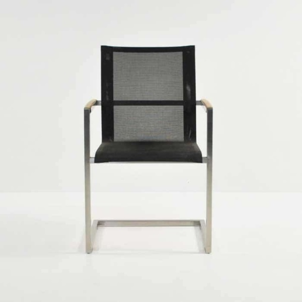 black bruno batyline® mesh and stainless steel dining chair
