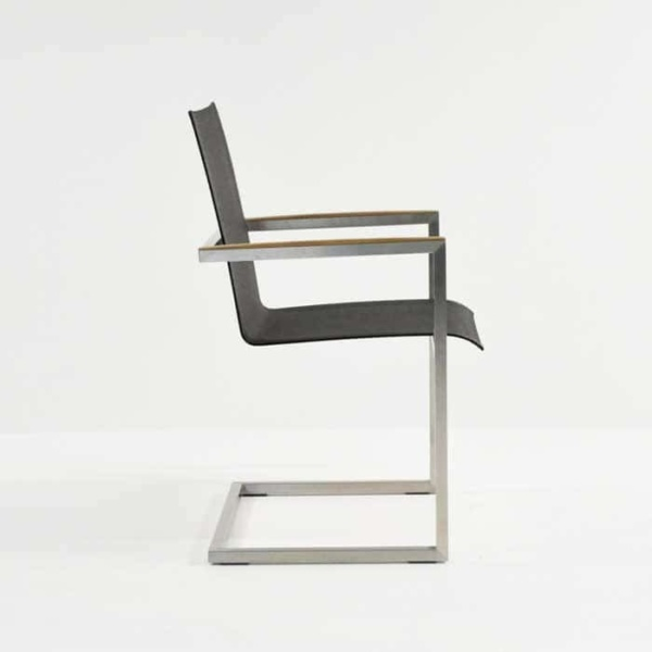 bruno stainless steel and mesh dining chair in black