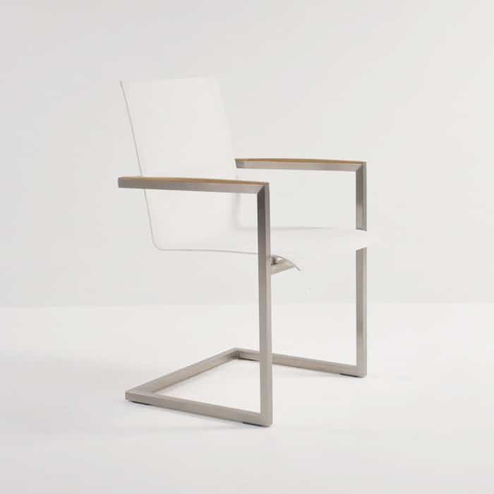 bruno stainless steel and batyline® mesh dining chair in white