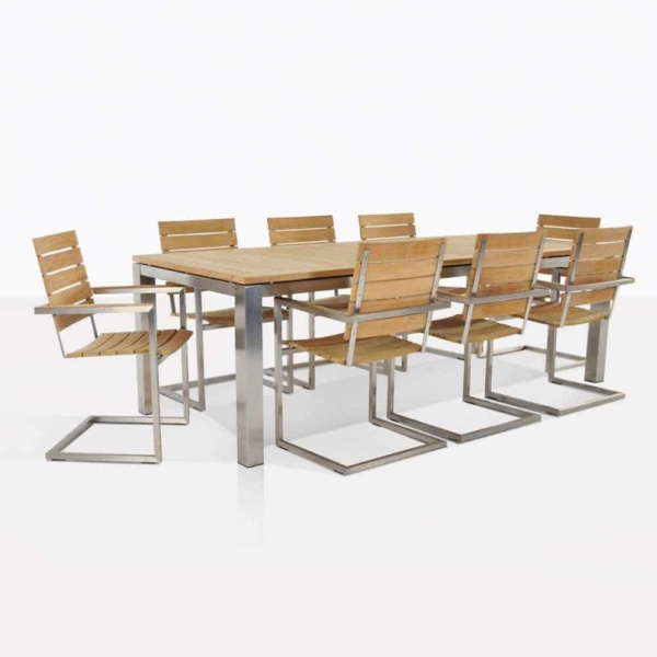Bruno Teak And Steel Dining Set For 8