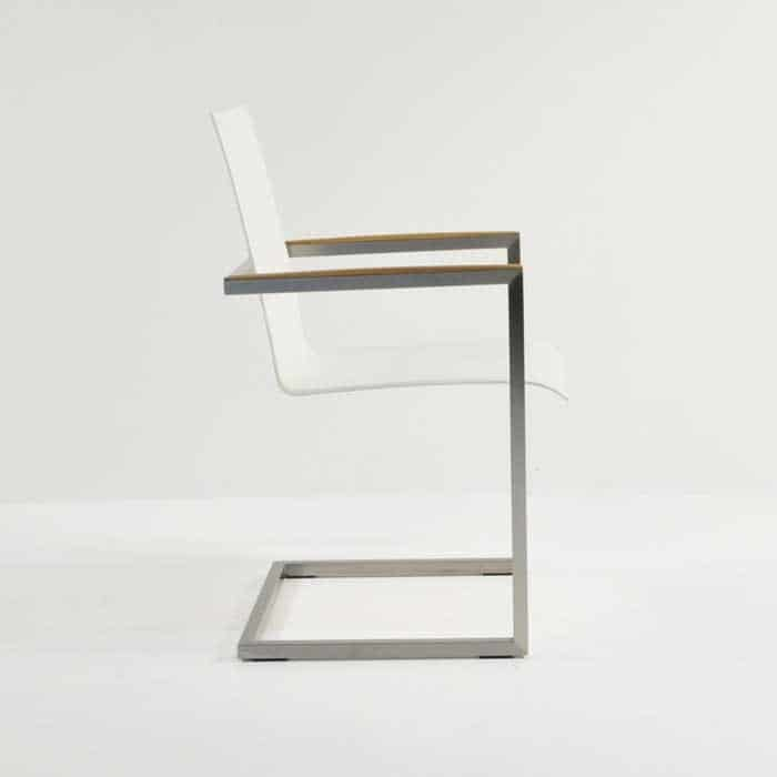 bruno stainless steel dining chair in white colour