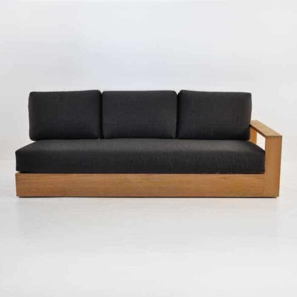 cabana teak one arm sofa front view
