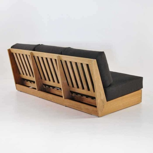 cabana teak one arm sofa with left arm back angle view