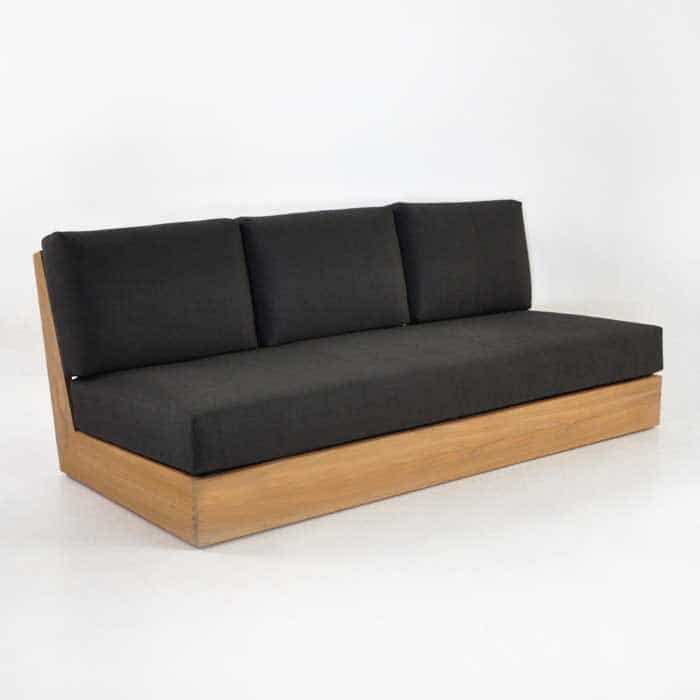 cabana teak armless sofa
