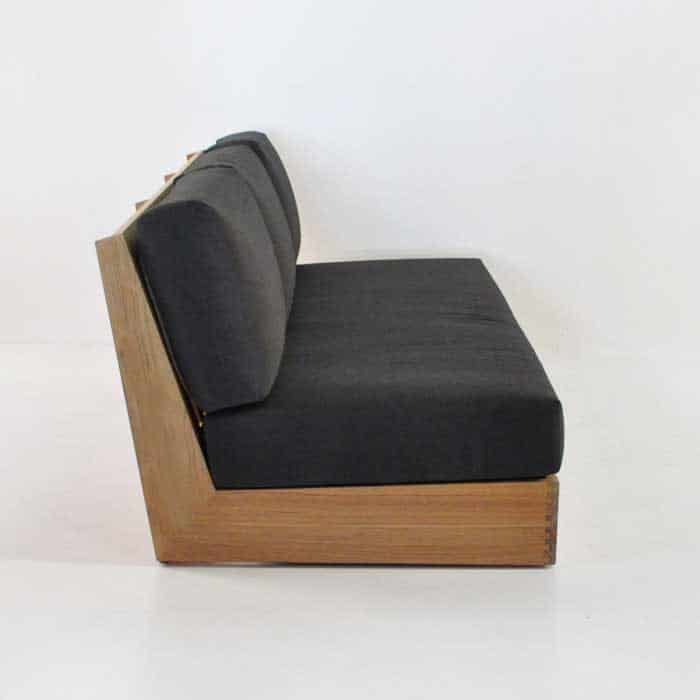 cabana teak armless sofa side view