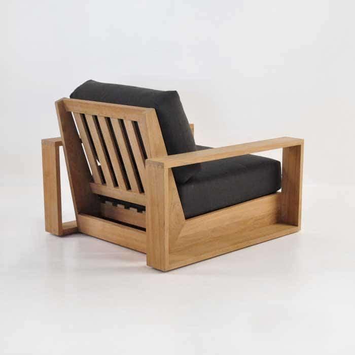cabana teak club chair back angle view