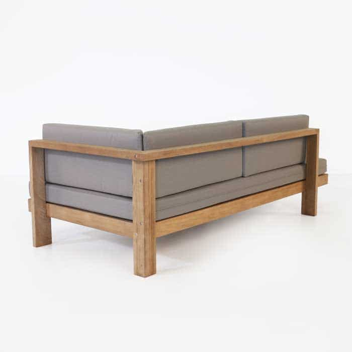 a-grade teak daybed with taupe cushions