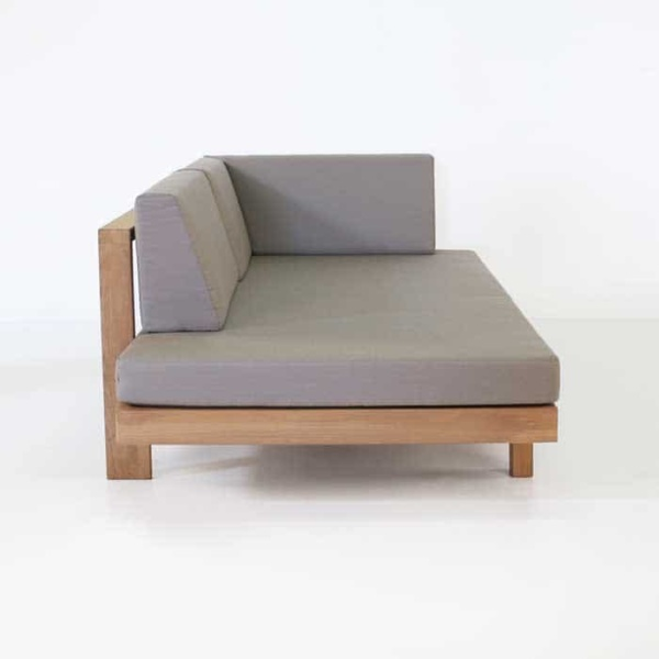 teak daybed with left arm and cushions