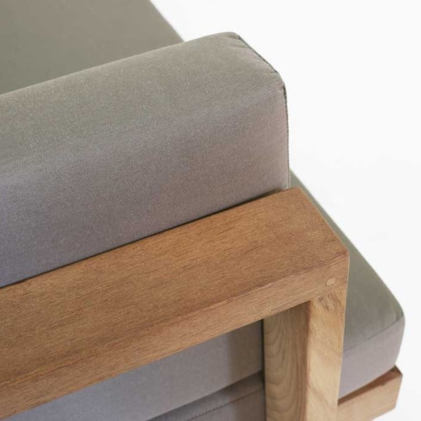 teak furniture closeup image with cushion