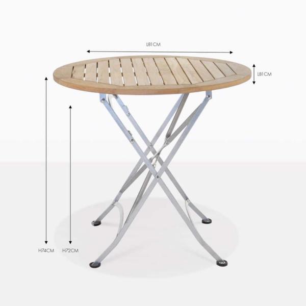 cafe teak round folding dining table