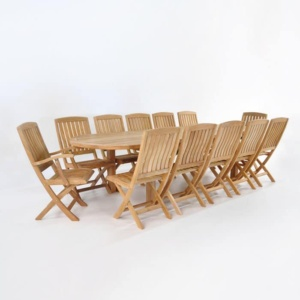 Teak Outdoor Dining Set   Capri Extension Table and 12 Como Chairs-0