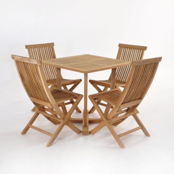 Cayman Table with 4 Prego Chairs Teak Dining Set-0