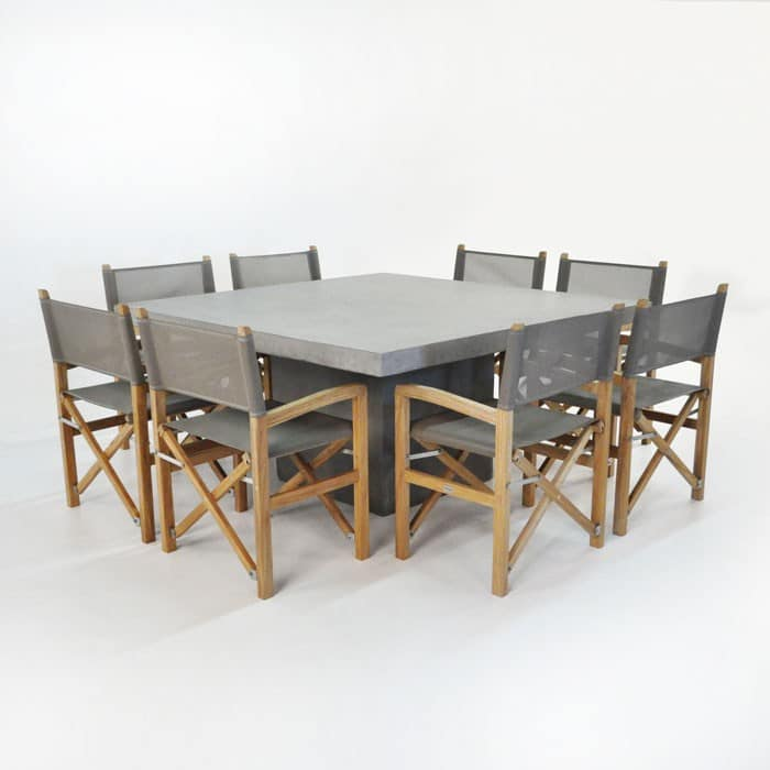 Outdoor Dining Set | Concrete Table with 8 Batyline Chairs-0