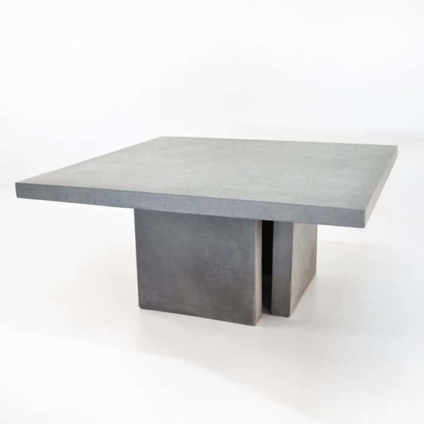 Square Concrete Table and 4 Bench Outdoor Dining Set-2733