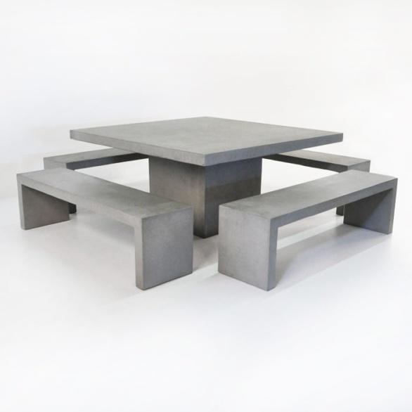 Design Warehouse Square Concrete Table Amp 4 Bench Set