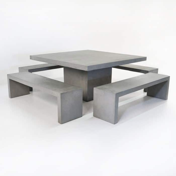 Design Warehouse Square Concrete Table 4 Bench Set