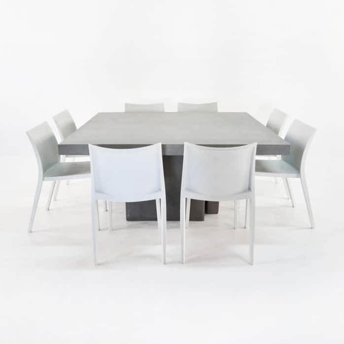 Square Concrete Table And Chairs Outdoor Dining Set 0